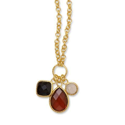 """18"""" 14 Karat Gold Plated Brass Necklace with Moonstone, Onyx & Garnet Charms"""