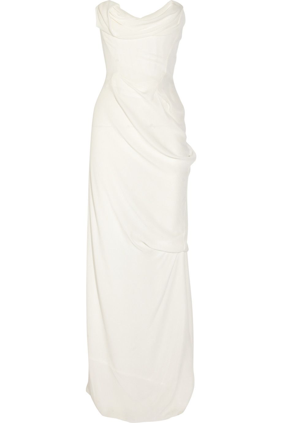 Vivienne Westwood Gold Label Corseted Silk Georgette Gown Fashion Long White Dress Dresses [ 1380 x 920 Pixel ]