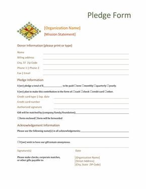 Donation Pledge Form This Form Normally Contains Basic Information About The Donor Name Contact Details Etc Inf Donation Form Pledge Donation Request Form