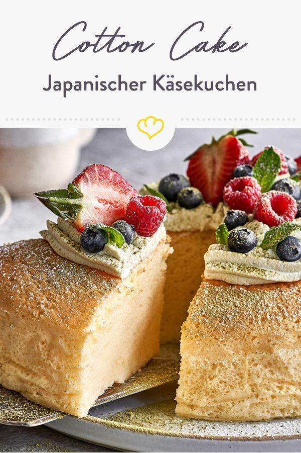 Japanischer Käsekuchen: Cotton Cake mit Matcha-Sahne
