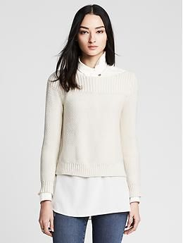 Seed Stitch Cropped Pullover Not The Shirt Underneath Just The