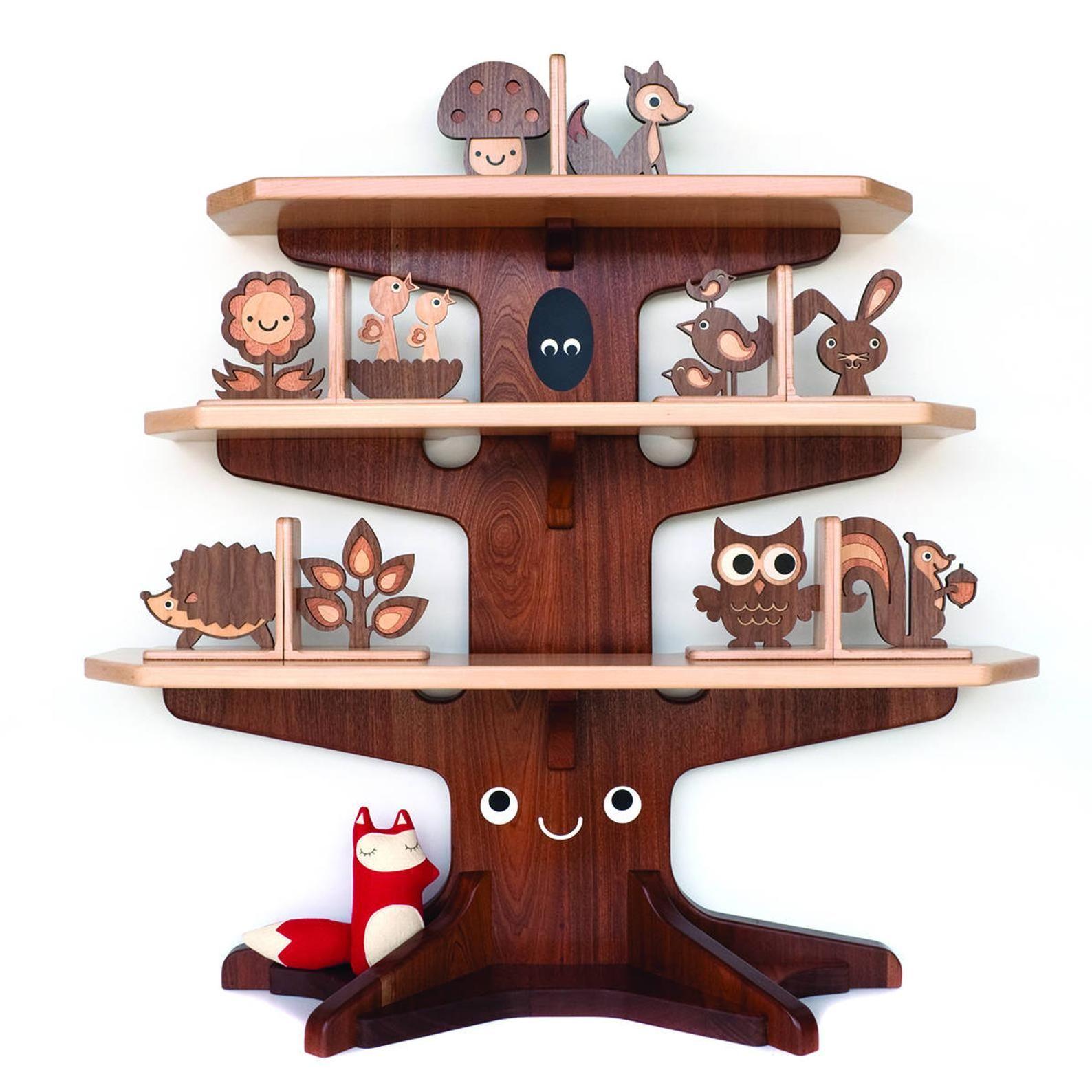 Photo of Sujetalibros Wood Animal Nursery: Woodland Forest Friends, Sujetalibros de madera para bebés o niños, Mix / Match (SET DE 2)