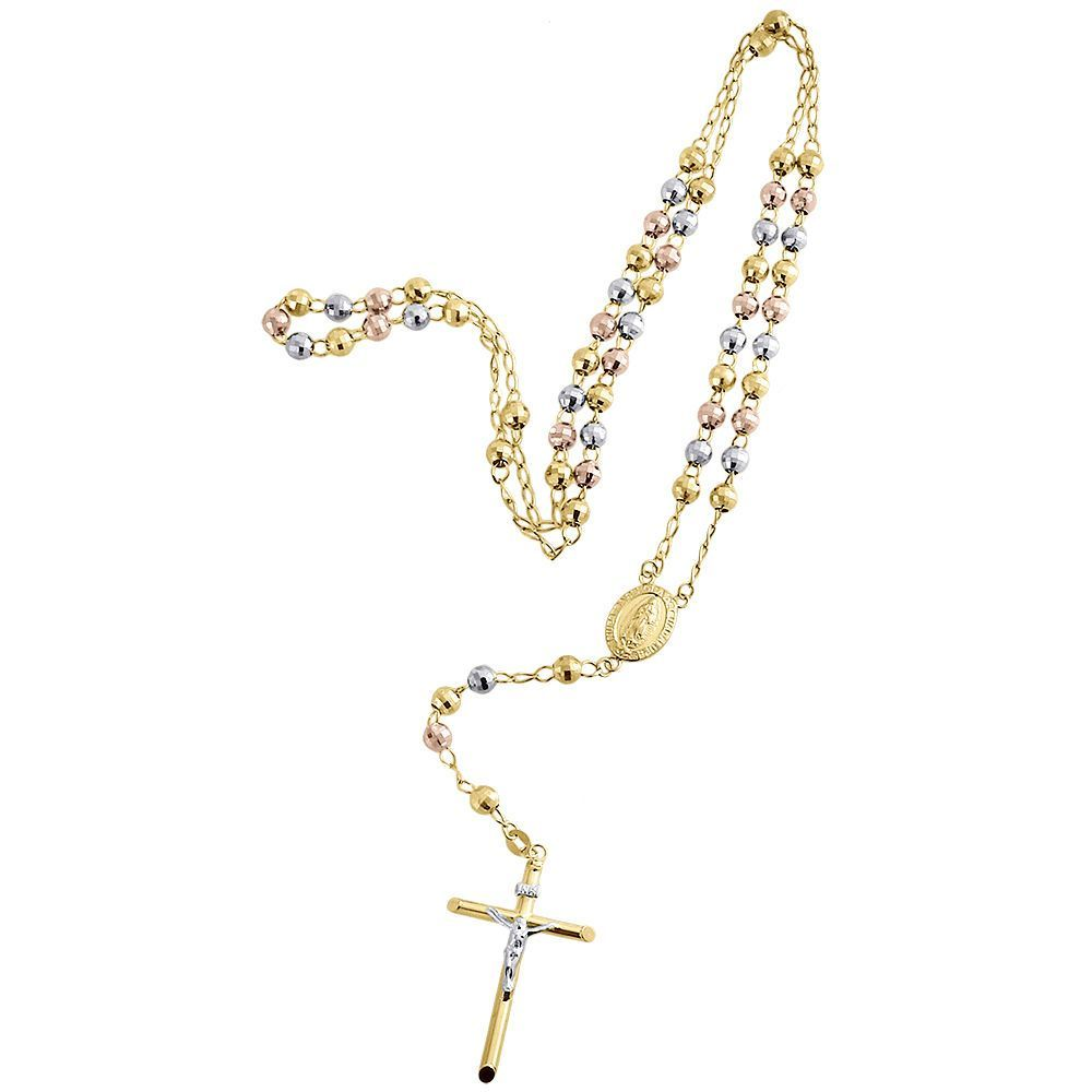 567fce76c61b5 Details about 10K Mens or Ladies Tri Color Real Gold Rosary Diamond ...