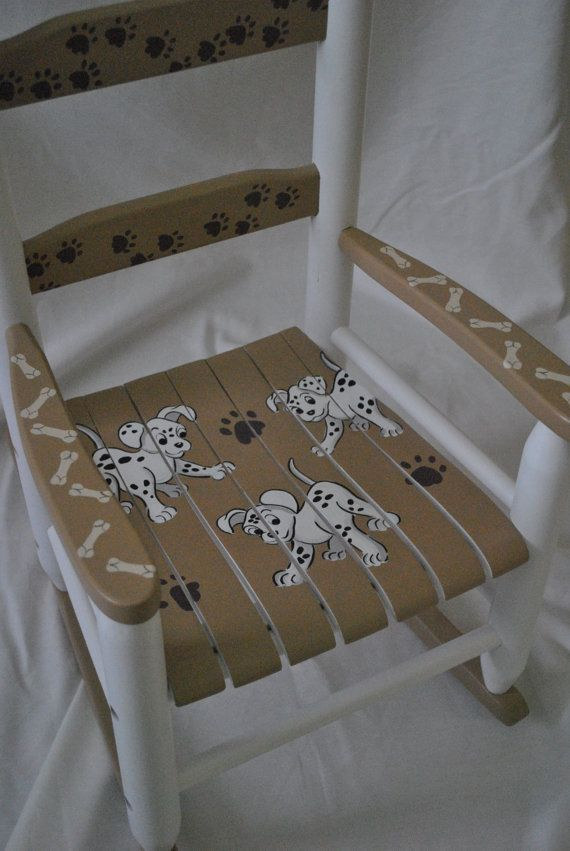 Childrens Custom Puppy Dogs Rocking Chair Hand Painted By Onmyown14 On  Etsy.com