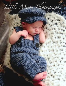 67bf3f77ca7 Newborn Baby Crochet Navy Blue Suspenders and Hat Set Photo Prop ...