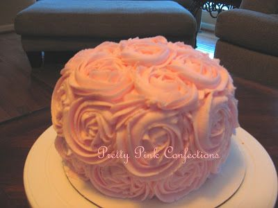 cupcakes frosted like roses   Pink Rose Cake and Cupcakes