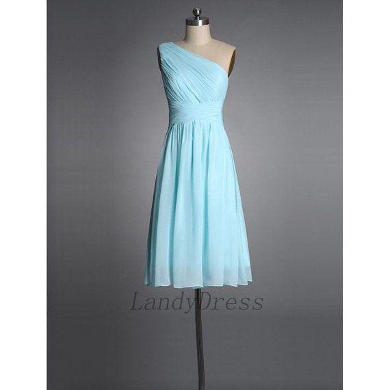One Shoulder Bridesmaid Dress Short Mini Tiffany Blue Prom