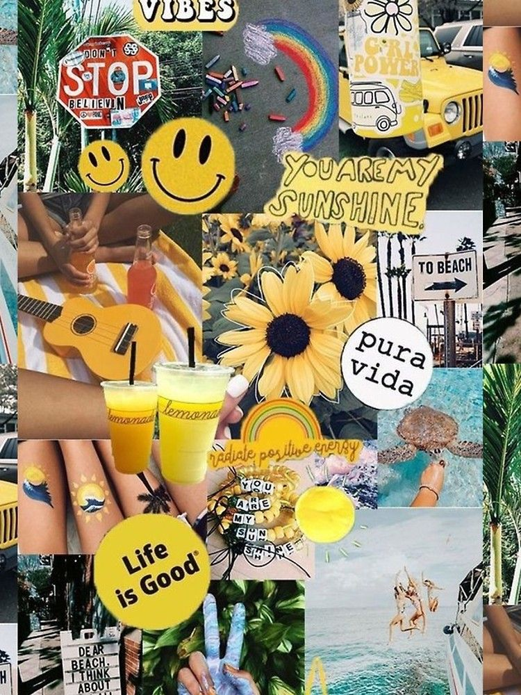 Yellow Sunshine Collage Iphone Case By P 3 In 2020 Aesthetic