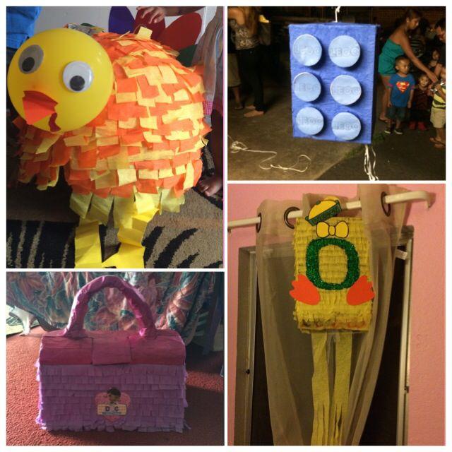 Top:turkey pinata:]] && Lego pinata:]] Bottom:doc mc stuffins purse pinata:]] && Oregon Ducks pinata:]]