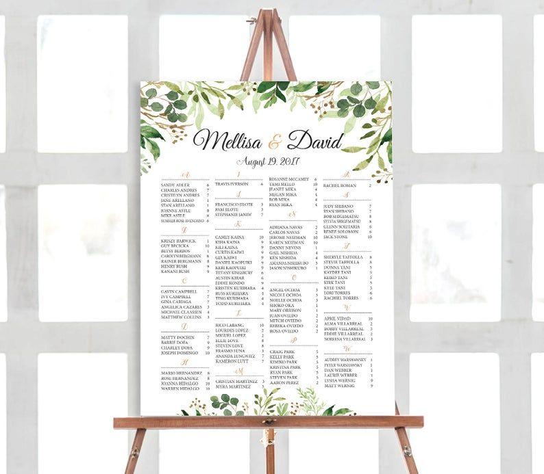 Tropical Wedding Seating Chart Template, Wedding Seating