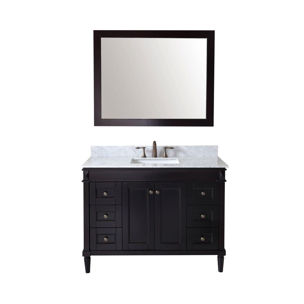 Virtu Usa Tiffany 49 In W Bath Vanity In Espresso With Marble Vanity Top In White With Square Basin And Mirror Es 40048 Wmsq Es The Home Depot In 2021 Marble Vanity Tops Single