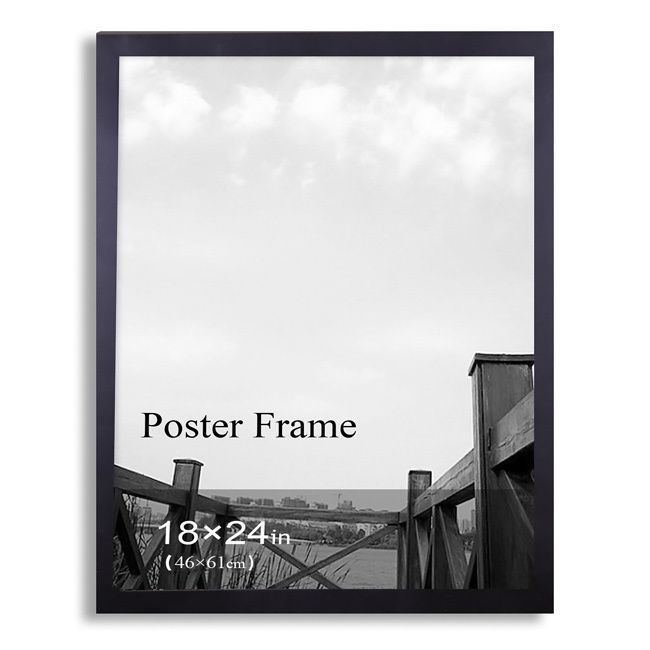 Adeco 18x24 inch black poster frame with clear plexiglass window black