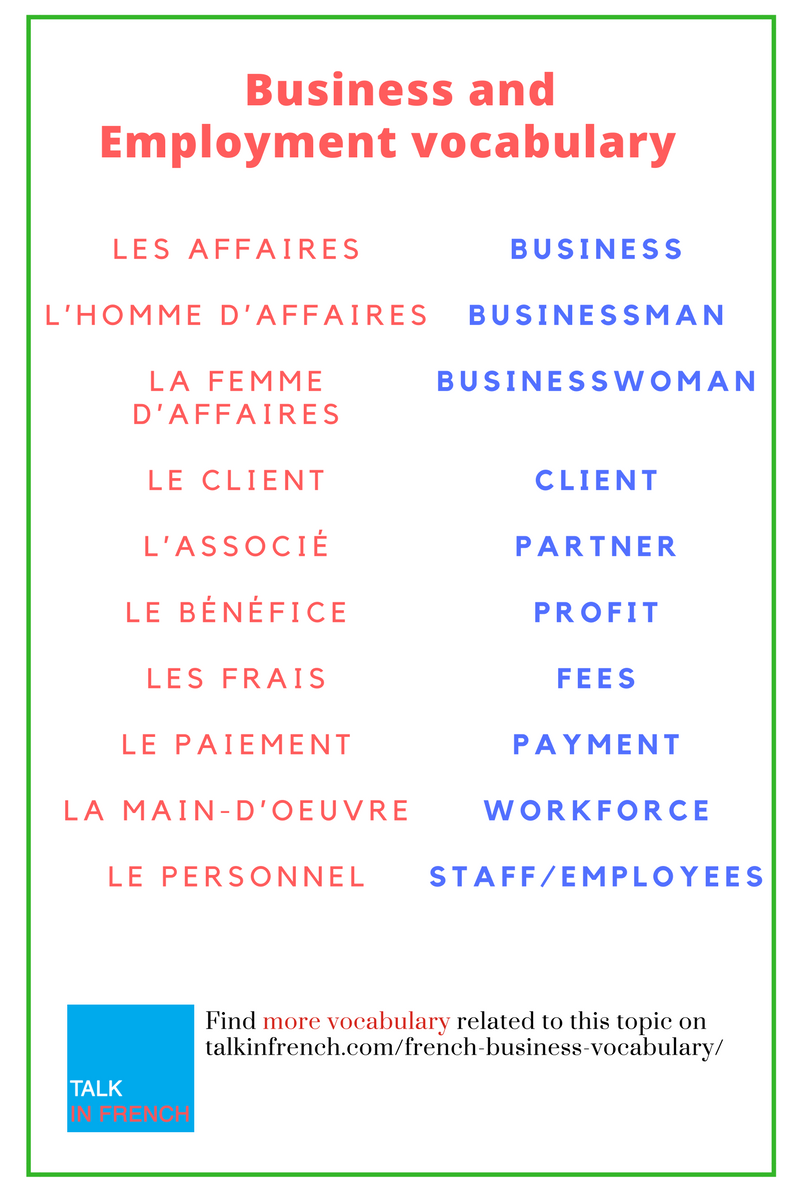 English In Italian: French For Business Part 2: 85 French Terms Related To