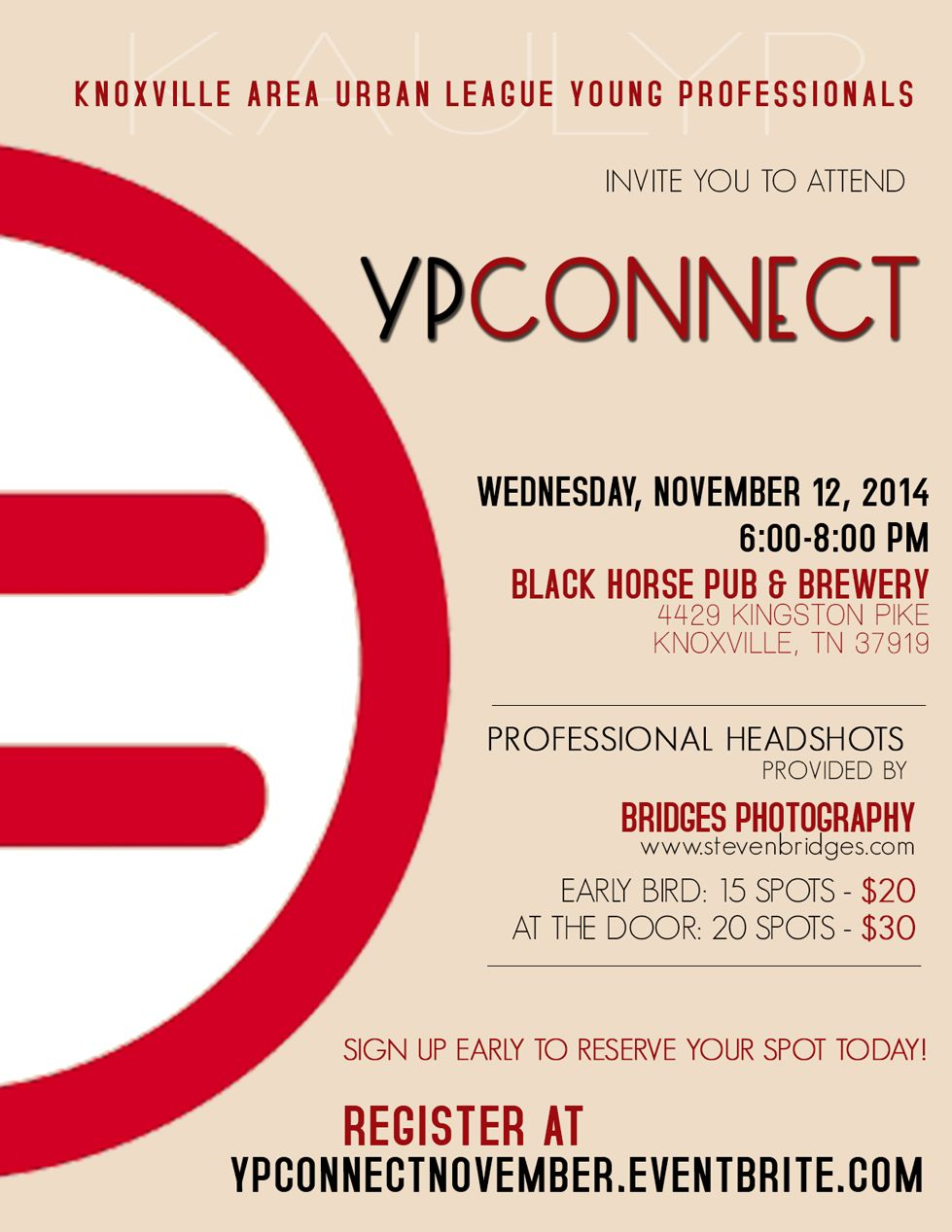 networking event flyer for the knoxville area urban league young professionals