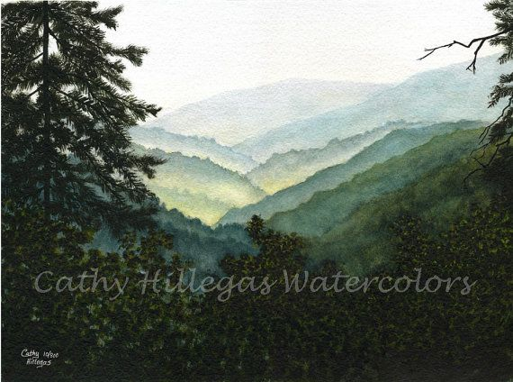 Smoky Mountains Watercolor Painting Print By Cathy Hillegas 8x10