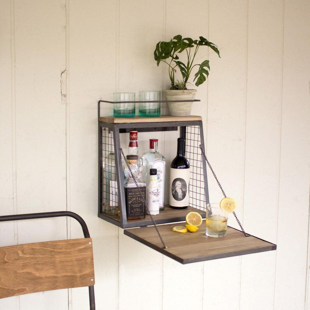 Bar Cabinet With Fold Down Shelf Industrial Wall Shelves Wall