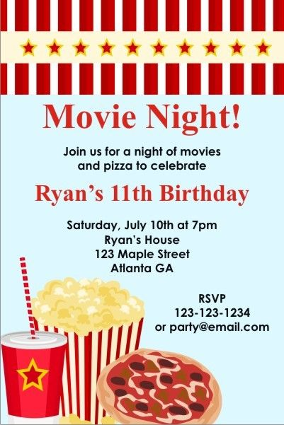 movie night invitation personalized party invites more