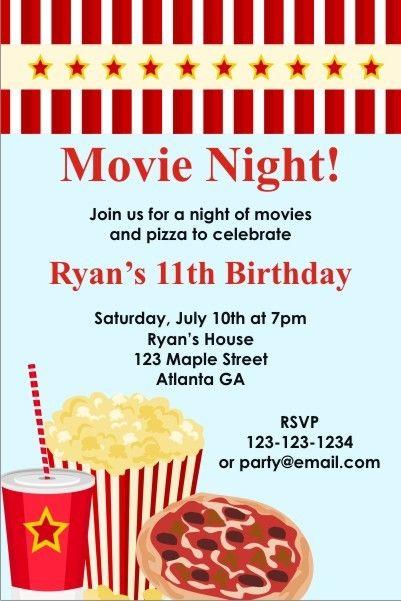 Movie Night Invitation Movie Birthday Party Movie Night Invitations Movie Party Invitations
