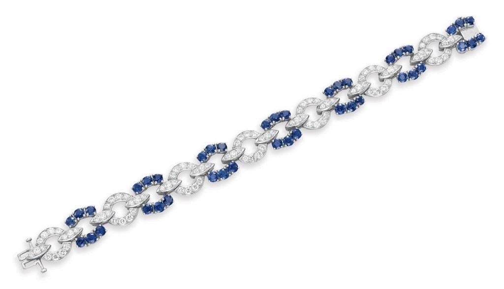 A DIAMOND AND SAPPHIRE BRACELET, BY TIFFANY & CO.