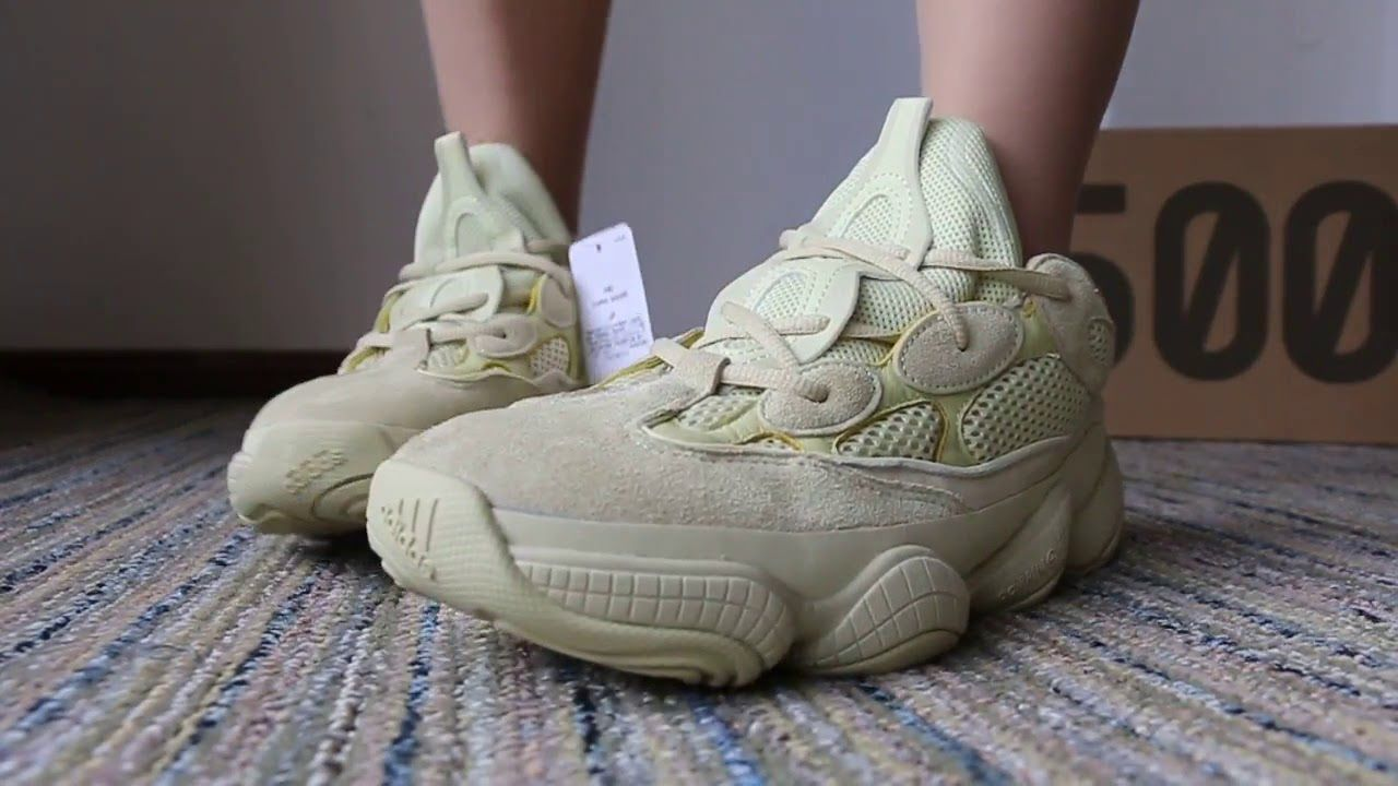 6548321dcf9f5 Take a First Look Of Adidas Yeezy Desert Rat 500 Supper Moon Yellow On Foot