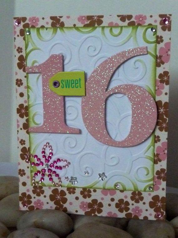 Handmade Card Sweet 16 Birthday Pink Green Brown Glitter