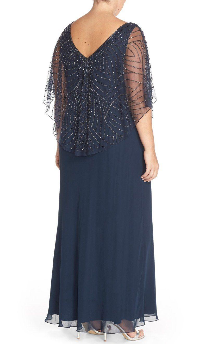 J Kara Embellished Cape Overlay V Neck Gown Plus Size Nordstrom Maternity Evening Dress Gowns Plus Size Formal Dresses [ 1318 x 860 Pixel ]