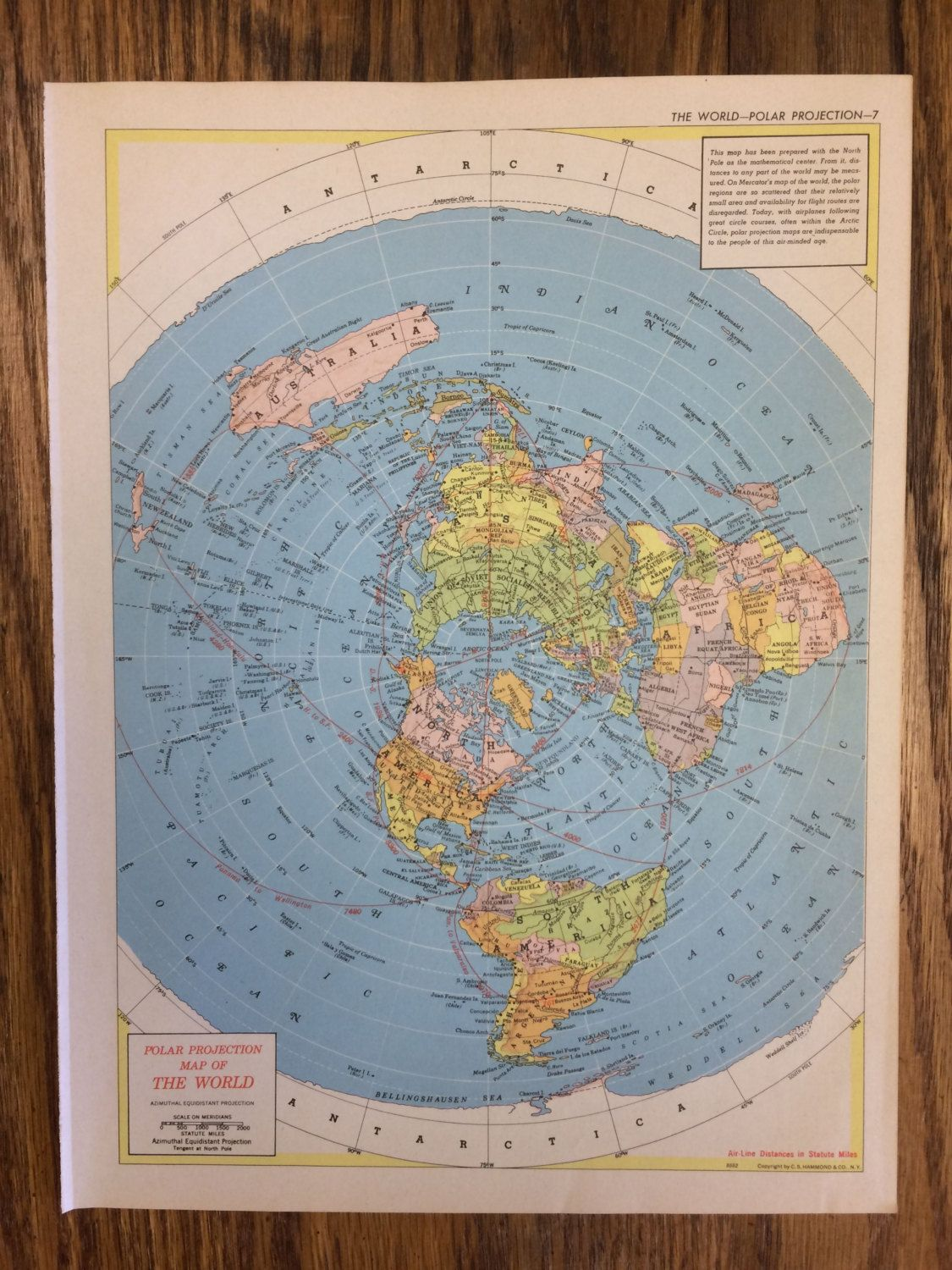 1955 The World Polar Projection or Arctic Ocean Antarctica Large