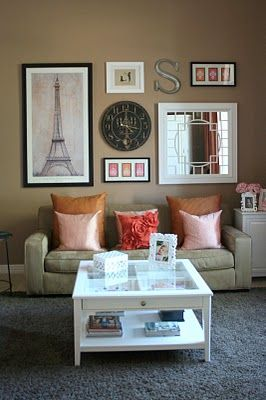 Living room wall collage done well simple mix of large small round rectangle square color - Wall collage ideas living room ...