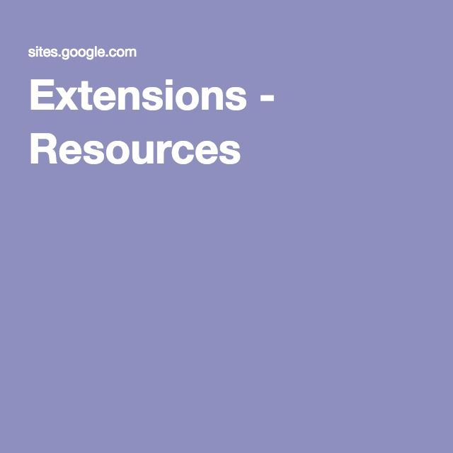 Extensions - Resources