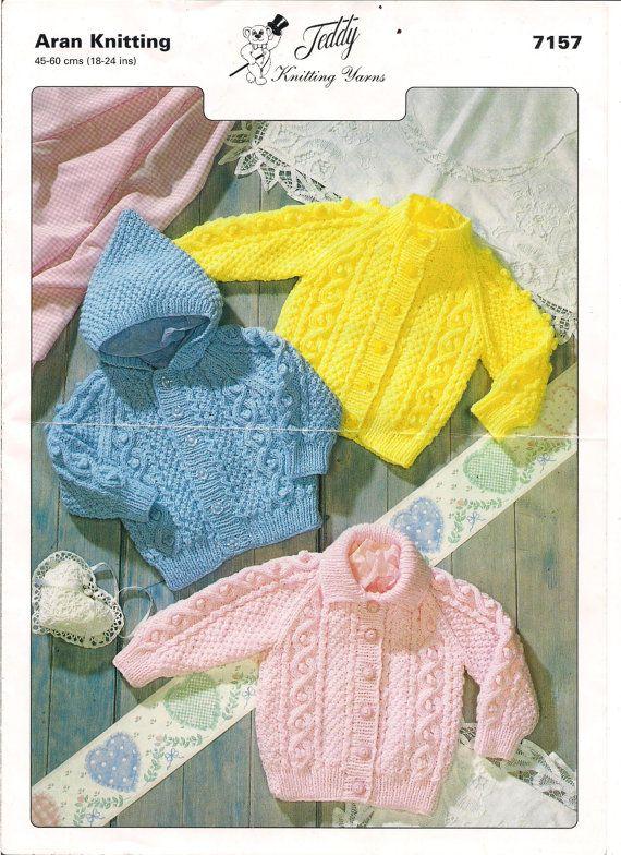 Baby Aran Cardigan Knitting Pattern PDF instant download. Pattern ...