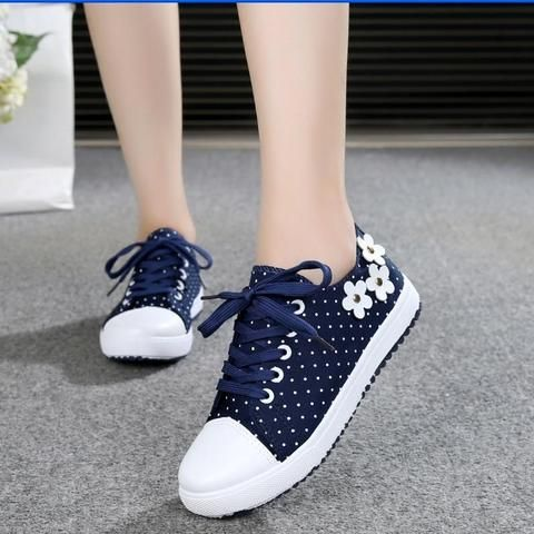 36f2e74dbcec6 New Women Canvas Shoes Casual Lace-Up Cute Spring Candy Colors Ladies Flats  white Shoes Woman free shipping-Touchy Style-Blue-5-TouchyStyle