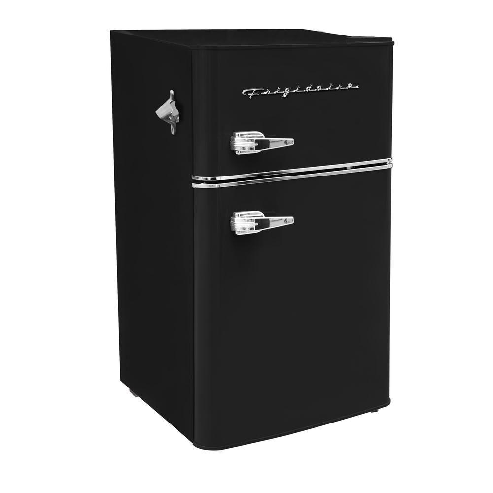 Frigidaire 3 2 Cu Ft 2 Door Retro Mini Fridge In Black Efr840 Blackcom The Home Depot In 2020 Mini Fridge Mini Fridge With Freezer Bar Fridges