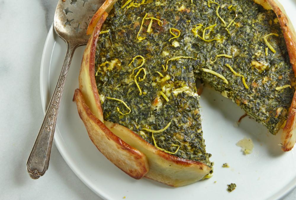 Creamy Spinach Torta in a Potato Crust.