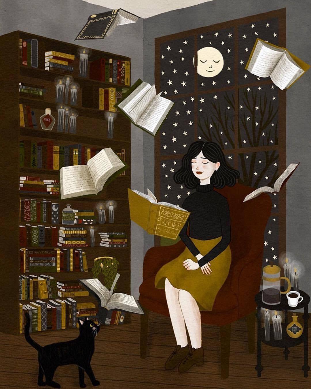 Resultado de imagem para girl reading books magic illustration