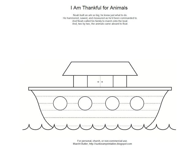 Sunbeam Printables Noahs Ark Coloring Page For Lesson 12 I Am Thankful Animals