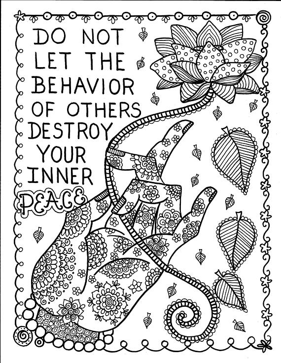 5 Pages Inspiring Coloring Pages Mantras Yoga Peace Om Adult
