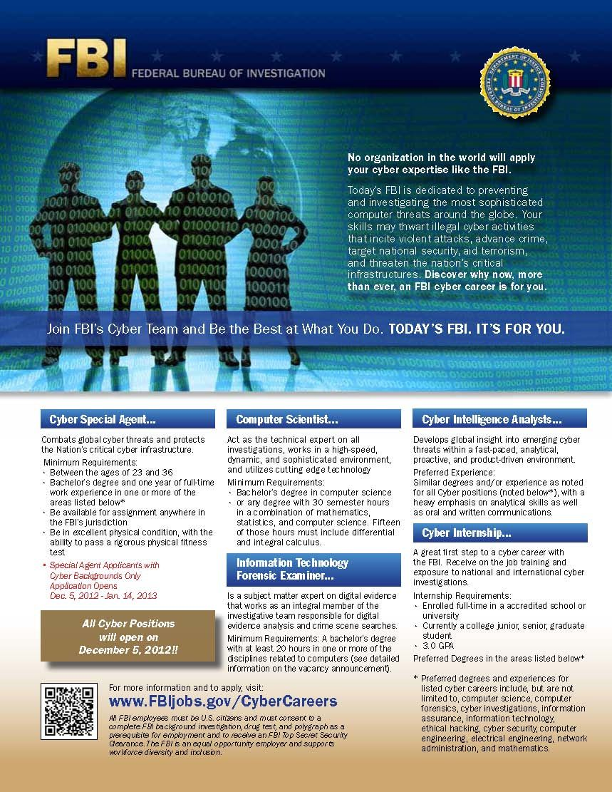 Join the FBI Cyber Team. Positions open Dec. 5, 2012,