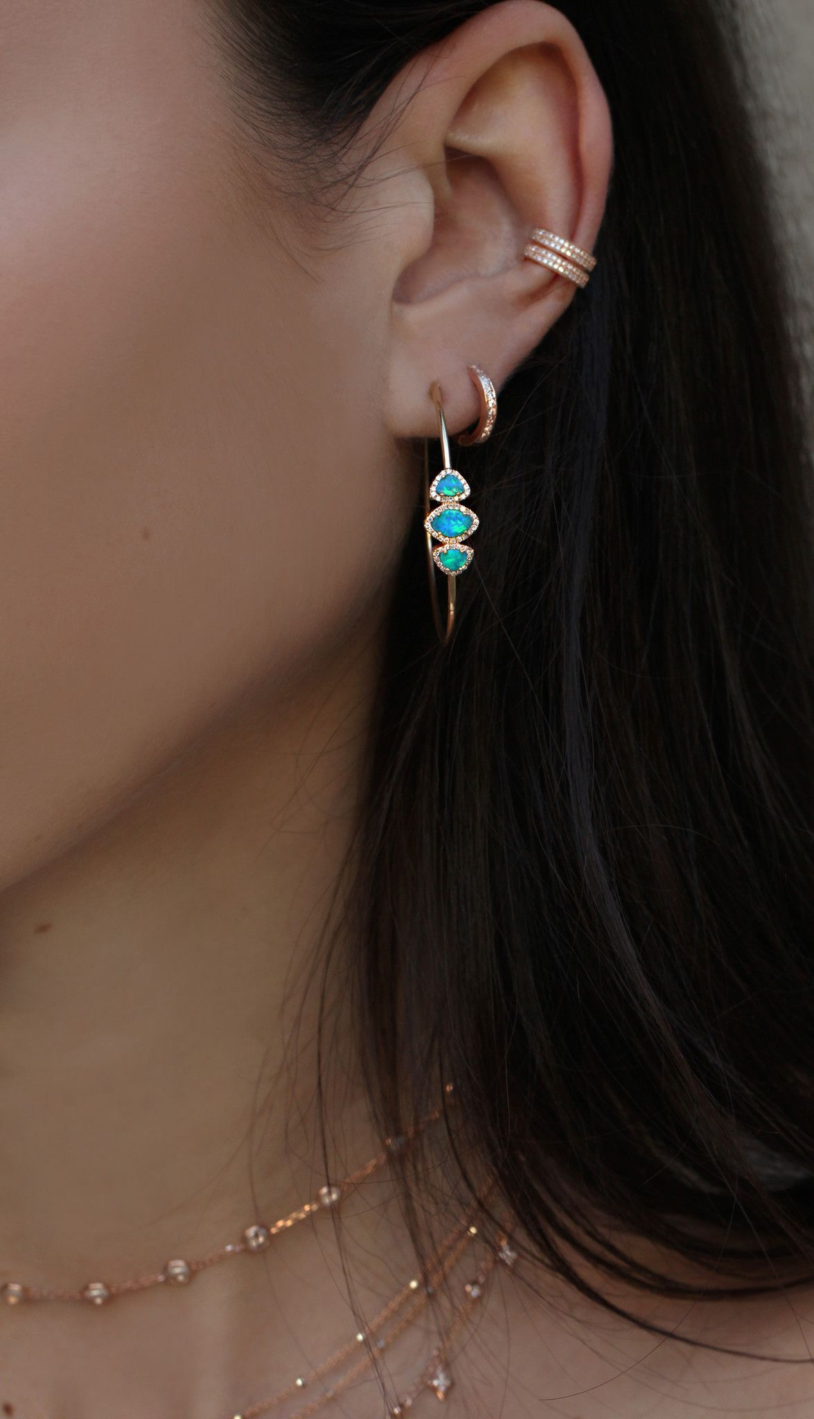 14kt Gold And Diamond Opal Hoop Earrings Total Weight 1ct 20ct Is A Stone Of Inspiration Enhancing Imagination