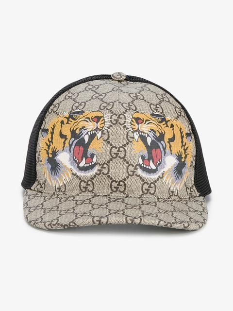 f73ef9fbf66 Gucci Tigers Print GG Supreme Baseball Cap