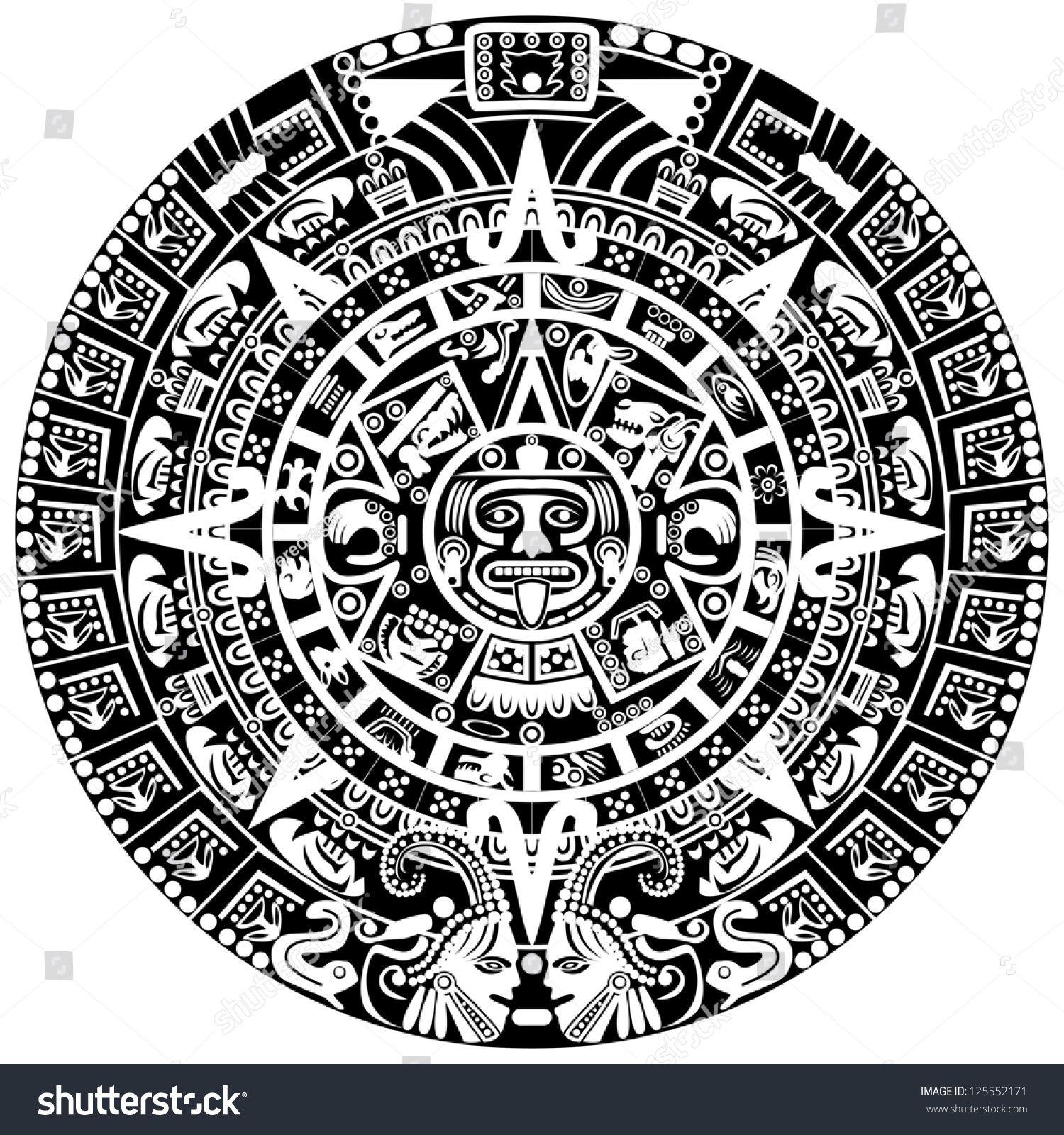 Calendario Vectorizado.Vector Of Mayan Calendar On White Background Tatuirovki