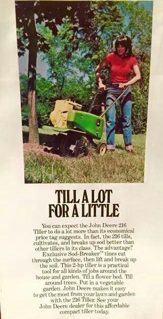 Vintage JOHN DEERE Garden Tiller Ad Gardening Tools Pinterest
