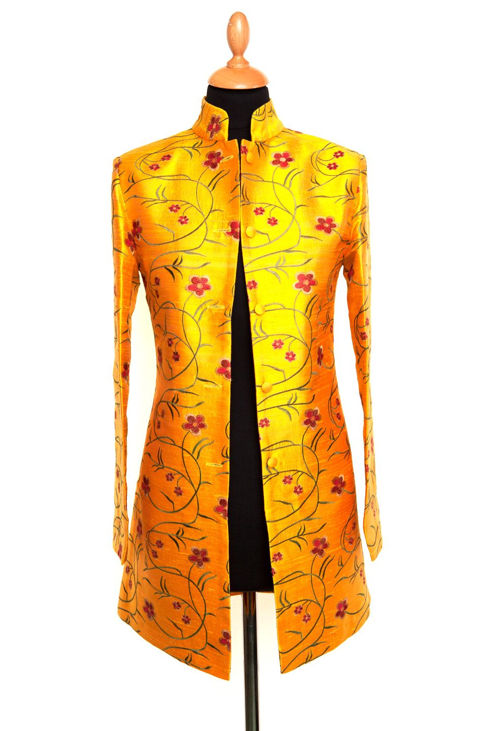 08f912b2070 Silk Jacket Women Long Nehru Shocking Mustard | Would Love to Have ...