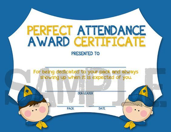 cub scouts perfect attendance award certificate instant download