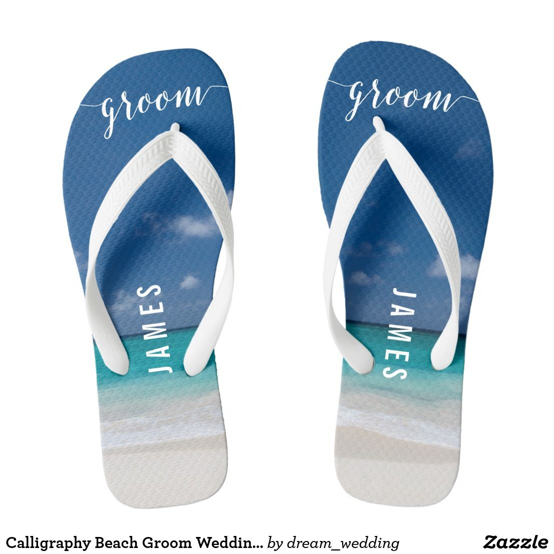 Calligraphy Beach Groom Wedding Party Flip Flops | Zazzle and ...