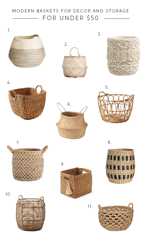 Modern Baskets for Storage and Decor for under $50 | Brepurposed ...