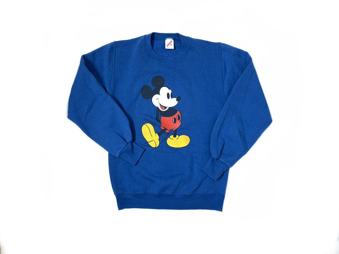 Walt Disney Productions Sweater 80s Vintage Mickey Mouse Crewneck 90s Cartoon Character Pullover 90s Jerzees Tag Unisex Vintage Mickey Mouse 90s Cartoon Characters Mickey Mouse Cartoon [ 828 x 1104 Pixel ]