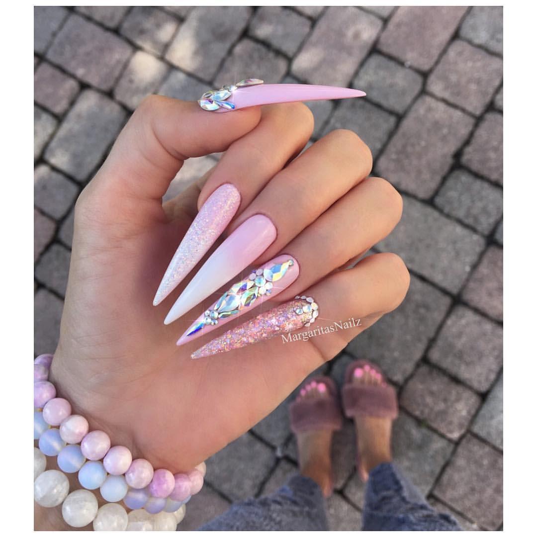 Pink Ombre Stiletto Nails Swarovski And Glitter Nail Art Design