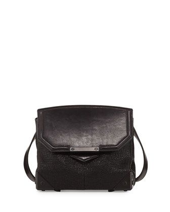 Prisma+Embossed+Lambskin+Flat-Bottom+Crossbody+Bag,+Black+by+Alexander+Wang+at+Neiman+Marcus.