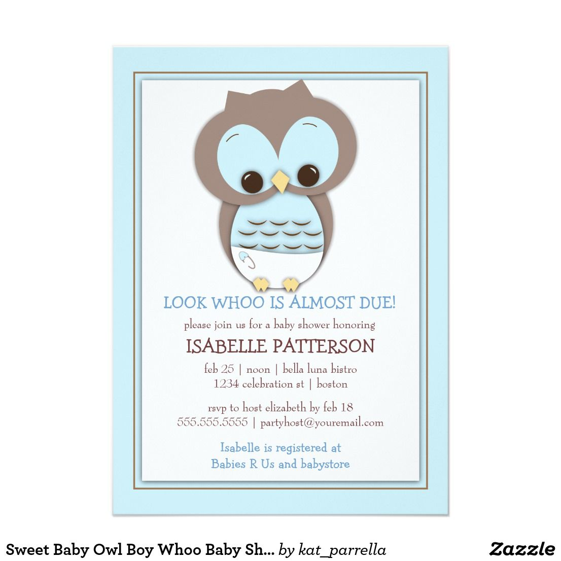 Sweet Baby Owl Boy Whoo Baby Shower Invitation A cute little baby ...