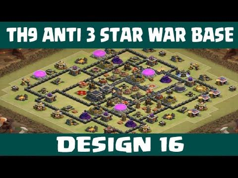 Clash of Clans | Town Hall 9 Anti 3 Star War Base | Layout 16 | CoC